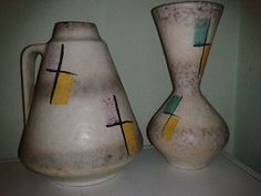 Hello and welcome to my sale of these two Modenist Vases One by E.S Keramik of Germany and the other by Kilrush Ceramics LTD The Republic of Ireland.The sizes of the two Vases are,The one with t. Irish Pottery, 1960s, Ireland, Ceramics, Vases, German, Home Decor, Ceramica, Deutsch