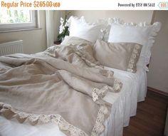oatmeal beige linen full / queen king duvet cover elegant bedding