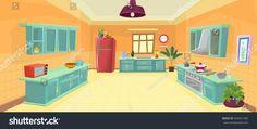 illustration Kitchen / cartoon kitchen VectorKitchen#illustration#cartoon#Vector Kitchen cartoon Illustration Animation background