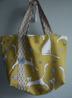 New Collection - Re Collection, Canvas tote bag, Funky cat pattern, handmade tote bag, Mustard tote bag, shopping bag