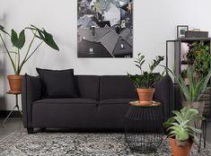 Canapé 2 places tissu gris anthracite chez MiLOME. Dimensions : L.180 x P.83 x H.73 cm Couch, Dimensions, Design, Furniture, Home Decor, Gray Fabric, Home Decoration, Settee, Decoration Home