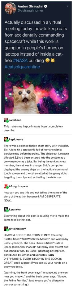 Cats in Space (and Other Places) Tumblr Funny, Funny Memes, Hilarious, Books To Read, My Books, Funny Posts, The Funny, Technology Gadgets, Medical Technology