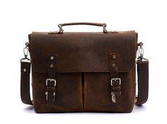 """Leather laptop bag   15"""" / Brown Leather Briefcase / crossbody bag/Retro Handbag / Satchel / Hip Bag / Shoulder Bag /  Cabin Travel Bag door fashionshop1 op Etsy https://www.etsy.com/nl/listing/210133193/leather-laptop-bag-15-brown-leather"""