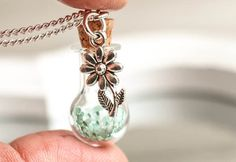 Real flower Necklace silver Glass Globe Pendant blue by RafFinesse