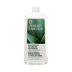 Tea Tree Oil Mouthwash by Desert Essence www.theteelieblog.com Flavored with natural Spearmint, this effective, dentist-recommended mouthwash features the inherent antiseptic properties of pure, Eco Harvest® Tea Tree Oil. #thrivemarket