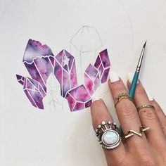 Getting closer! I'm having so much fun painting up this cluster of pretty pinks and purples! What's your favorite type of crystal? (I'm always looking for ideas of what to paint next!) #banditweekendtakeover | @jessweymouth_ #the2bandits