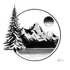 Mountain Sketch, Mountain Drawing, Tattoo Drawings, Art Drawings, Tattoo Ink, Berg Tattoo, Circle Drawing, Natur Tattoos, Forest Tattoos