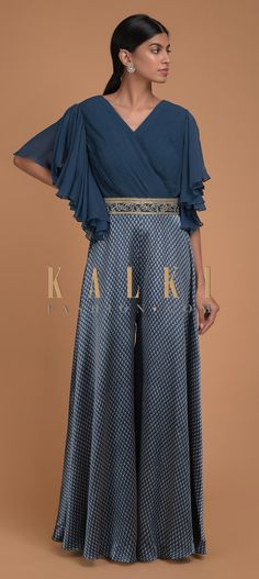 Teal Jumpsuit In Milano With Printed Buttis And Fancy Bell Sleeves Online - Kalki Fashion Jumpsuit Dressy, Jumpsuit With Sleeves, Iranian Women Fashion, Indian Fashion, Pleated Fabric, Indian Designer Outfits, Draped Dress, Jumpsuits For Women, Pretty Dresses