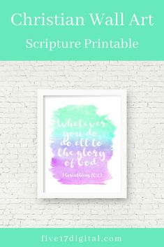 1 Corinthians Christian Graduation Gift Purple and Teal Watercolor Wall Art Scripture Printable Bible Verse Print Sunday School Decor Christian School, Christian Gifts, Christian Decor, Printable Bible Verses, Printable Wall Art, Sunday School Decorations, Sunday School Classroom, Scripture Wall Art, Wooden Wall Art