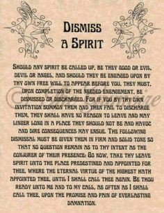 Dismiss a Spirit Spell, Book of Shadows Page, BOS Pages, Summoning Spells, Wicca… Wiccan Spell Book, Wiccan Witch, Magick Spells, Wicca Witchcraft, Witch Spell, Spell Books, Real Witches, Practical Magic, Book Of Shadows