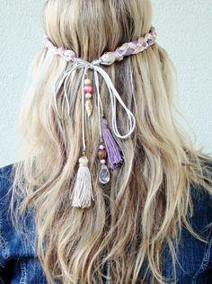 to make. boho headband,tassels,charms and beads.