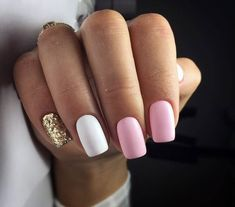 What manicure for what kind of nails? - My Nails Gold Gel Nails, Best Acrylic Nails, White Nails, My Nails, Shellac, Glitter Nails, Baby Pink Nails, Pink Manicure, Short Pink Nails