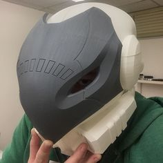 Test fitting this...err well more like I couldn't keep it off any longer! LOL haha so in love with this project. #3D #3dprinted #3dprinting #prop #replica #bungie #destiny #destinythegame #destinythetakenking #celestialnighthawk #exotic #hunter #helmet #hawkmun #ps4 #xbox #xboxone #propmaker #proplife #cosplay #valorprops by valorprops