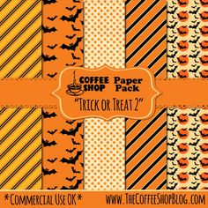 CoffeeShop Halloween Digital Paper set, can be used commercially!