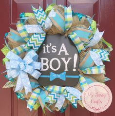 It's a Boy Wreath - Baby Shower Wreath - Baby Arrival Wreath - Baby Boy Wreath - Burlap Wreath - Blue and Green Ribbon Wreath - Chalkboard by MsSassyCrafts on Etsy https://www.etsy.com/listing/233057572/its-a-boy-wreath-baby-shower-wreath-baby