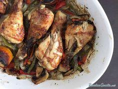 Receta de Pollo al horno con verduras y champiñones