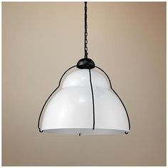 Offer industrial lighting and style with this intriguing white metal pendant light. wide x high x canopy is wide x hang weight is 20 lb. Includes 8 feet of cord and lead wire, 8 feet of chain. Style # at Lamps Plus. Bronze Pendant Light, Crystal Pendant Lighting, White Pendant Light, Pendant Chandelier, Pendant Light Fixtures, Small Chandelier Bedroom, Small Space Design, Industrial Pendant Lights, Canteen