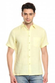 70948057e6ed Buy Men Lime Linen Half Sleeves Shirt Online at Best Price India