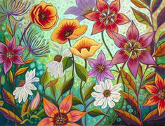 Smells Like Summer Watercolor Projects, Watercolor Cards, Watercolor Flowers, Flower Art Drawing, Cartoon Flowers, Acrylic Painting Techniques, Mural Art, Whimsical Art, Art Tutorials
