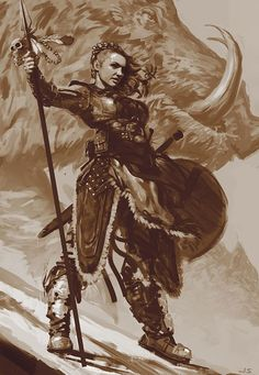 Shield Maiden by dustsplat female viking shield staff barbarian fighter warrior hunter huntress armor clothes clothing fashion player character npc | Create your own roleplaying game material w/ RPG Bard: www.rpgbard.com | Writing inspiration for Dungeons and Dragons DND D&D Pathfinder PFRPG Warhammer 40k Star Wars Shadowrun Call of Cthulhu Lord of the Rings LoTR + d20 fantasy science fiction scifi horror design | Not Trusty Sword art: click artwork for source: