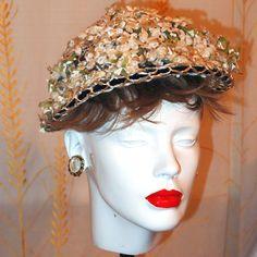 Off-White Velveteen Flower Hat with Navy Velvet Ribbon