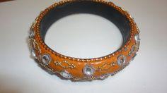 Orange pulsera Bangle bracelet by PatsapearlsBoutique on Etsy, $4.99