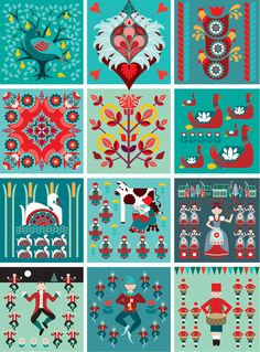 12 Days - Folk Art Style...  12 Days of Christmas Folk style art print. $16.00, via Etsy.