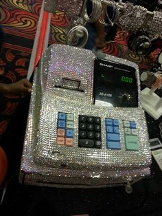 Blinged out cash register in the exhibition hall