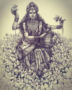 🅾🅼 🅻🅾🆅🅴 🅻🅸🅶🅷🆃 🅾🅼 🅻🅾🆅🅴 🅻🅸🅶🅷🆃 🅾🅼 Jai Maa Laxmi🧿🔱 Repost with credits to ⏩ ⏪ and respective artists. Dance Paintings, Indian Art Paintings, Indian Goddess, Goddess Art, Pencil Art Drawings, Art Sketches, Saraswati Goddess, Ballpoint Pen Art, Joker Art