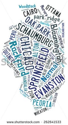 Word cloud in the shape of Illinois showing the cities in the state of Illinois - stock photo