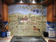 kitchen country Ceramic Tile Backsplash | wall tile mural hand painted on 6 x 6 inch ceramic tile aprroximately ...
