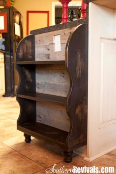 Custom Built Pallet Wood Bookshelf ~ Pottery Barn Style...but I'd like to make it look more like open bins instead of just a flat shelf to store potatoes, onions etc in without falling out.