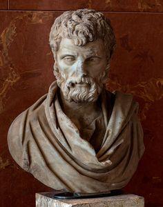 Herodes Atticus, wealthy Greek aristocrat, sophist, prominent citizen, Senator, Roman bust (marble), 2nd century AD, (Musée du Louvre, Paris).
