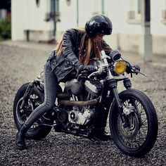 Repost: @caferacerclub Girl and bike - the best combination. | bike by Zadig MC. | #caferacer #custom #harley #caferacerclub#caferacerculture #bobber #streettracker #scrambler #motorcycles #custombike #caferacerxxx #flattrack #caferacersofinstagram #brattracker #caferacerporn #bratstyle #custommotorcycle