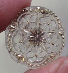 Antique Georgian/Early Victorian Wedding Button w/Clear Glass Gilt Design
