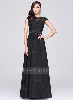 A-Line/Princess Scoop Neck Floor-Length Beading Appliques Lace Sequins Zipper Up Cap Straps Sleeveless No Black Spring Summer Fall General Plus Chiffon Height:5.7ft Bust:34in Waist:23in Hips:35in US 2 / UK 6 / EU 32 Prom Dress