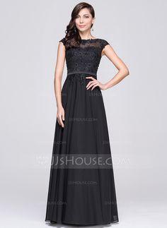 £ 155.00  A-Line Princess Scoop Neck Floor-Length Chiffon Evening Dress  With Beading Appliques Lace Sequins - JJ s House 1a532d25d3d0