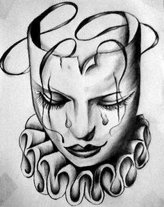 Pin by Natascha on Illustration, Comics, Bilderbuch in 2019 Chicano Tattoos, Chicano Drawings, Kunst Tattoos, Tattoo Drawings, Body Art Tattoos, Arte Cholo, Cholo Art, Clown Tattoo, Mask Tattoo