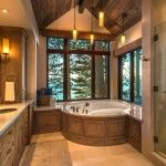 North Shore Lake Tahoe custom home built by NSM Construction. Log Home Bathrooms, Rustic Bathrooms, Cabin Homes, Log Homes, Lake Tahoe Houses, Log Cabin Living, Fancy Houses, Timber House, Bedroom Layouts