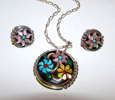 Vintage Native American Zuni Sterling Silver Turquoise MOP Jet Coral Inlay Floral Necklace and Earrings Set by R. CALAVAZA