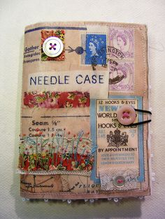 pin and needle case- plus lots of inspiration for altered fabric art using vintage lace and the like