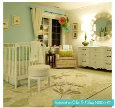 Shop baby nursery decor and be inspired by design ideas here at Project Nursery. Our baby gifts and gear include clothes, wallpaper, furniture, tech, and more. Blue Nursery Girl, Nursery Neutral, Chic Nursery, Vintage Nursery, Aqua Nursery, Cream Nursery, Elephant Nursery, Nursery Room, Interior Exterior