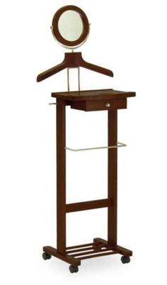 Wardrobe Valet Stand w/ Cheval Mirror Coat Tree Men Butler Clothes Suit Tie Rack