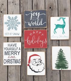 """Spruce up the holiday season with these distressed home decor signs. A design and color for all occasions!10 designs and options include:Let it Snow (Wording is in DARK GREY and snowflake is in COLOR OF CHOICE)Retro Santa (No variations available for this design)Santa's Sleigh (Santa and Sleigh in BLACK and wording in COLOR OF CHOICE)Merry Little Christmas (Wording in COLOR OF CHOICE and """"little"""" is in RED)Rudolph Merry Christmas (entire design in COLOR OF CHOICE)Holiday Tree (entire design…"""