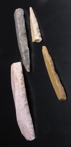Gravette Points from the sites of Laugerie haute, Laussel and La Gravette in the Aquitaine.