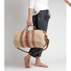 Red Stripe - Antique Linen Duffel Bag  by Wendren Cape Town, South Africa