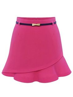 Shop Pink Trumpet Skirt with Asymmetric Pleated Hem from choies.com