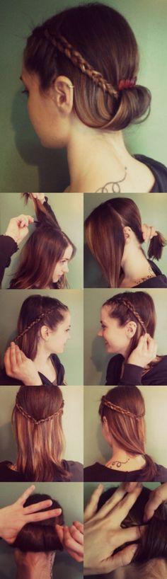 Pretty DIY hairstyle for medium length hair+Vintage comb!