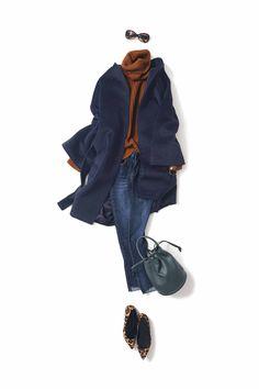 skinny x indigo / PANTS / Kyoko Kikuchi's Closet Classy Outfits, Casual Outfits, Fashion Outfits, Fashion Moda, Daily Fashion, Classy And Fab, Navy Coat, Pin On, Layered Fashion