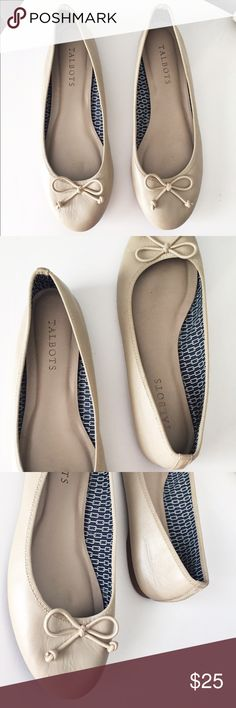 Talbots Nude Ballet Flats Great used condition! Nude bow flats from Talbots. Bottoms are in great shape, no scuffs or scratches. Talbots Shoes Flats & Loafers